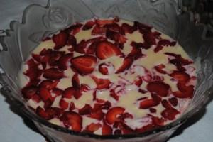 Trufa de chocolate com morango